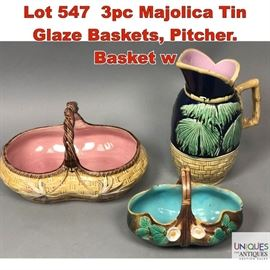 Lot 547 3pc Majolica Tin Glaze Baskets, Pitcher. Basket w
