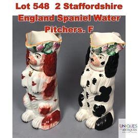 Lot 548 2 Staffordshire England Spaniel Water Pitchers. F