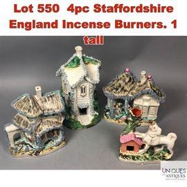 Lot 550 4pc Staffordshire England Incense Burners. 1 tall