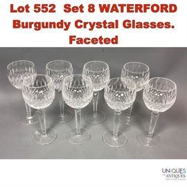 Lot 552 Set 8 WATERFORD Burgundy Crystal Glasses. Faceted