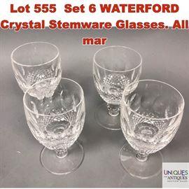 Lot 555 Set 6 WATERFORD Crystal Stemware Glasses. All mar