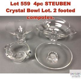 Lot 559 4pc STEUBEN Crystal Bowl Lot. 2 footed compotes.