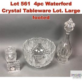 Lot 561 4pc Waterford Crystal Tableware Lot. Large footed