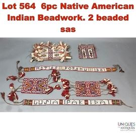 Lot 564 6pc Native American Indian Beadwork. 2 beaded sas
