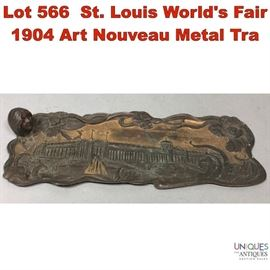 Lot 566 St. Louis Worlds Fair 1904 Art Nouveau Metal Tra