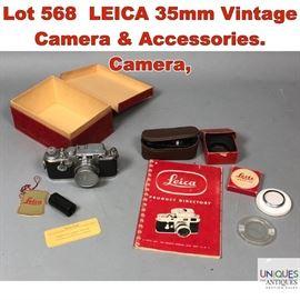 Lot 568 LEICA 35mm Vintage Camera  Accessories. Camera,