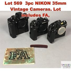 Lot 569 3pc NIKON 35mm Vintage Cameras. Lot includes FA,
