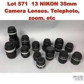 Lot 571 13 NIKON 35mm Camera Lenses. Telephoto, zoom, etc