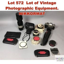 Lot 572 Lot of Vintage Photographic Equipment. NIKKORMAT