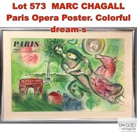 Lot 573 MARC CHAGALL Paris Opera Poster. Colorful dream s