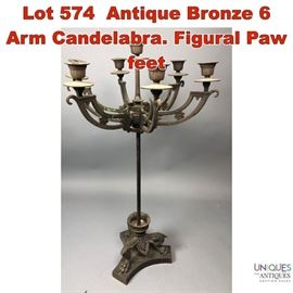 Lot 574 Antique Bronze 6 Arm Candelabra. Figural Paw feet