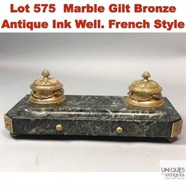 Lot 575 Marble Gilt Bronze Antique Ink Well. French Style