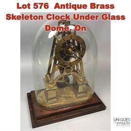 Lot 576 Antique Brass Skeleton Clock Under Glass Dome. On