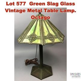 Lot 577 Green Slag Glass Vintage Metal Table Lamp. Octago