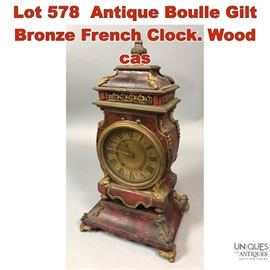 Lot 578 Antique Boulle Gilt Bronze French Clock. Wood cas