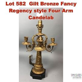 Lot 582 Gilt Bronze Fancy Regency style Four Arm Candelab