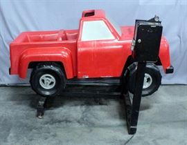 "Coin Operated Red Truck Kiddie Ride, 62""L x 41""W x 39""H, Works"