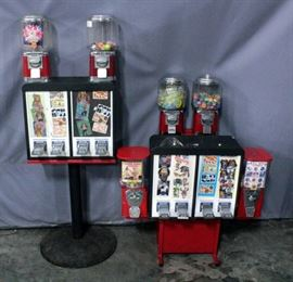 6-Way Vending Combo Unit- 2 Sticker/Tattoo Flat Machines & 4 Gumball/Capsule Machines, & T Stand w/ 2 Tattoo/Sticker Machines & 2 Gumball