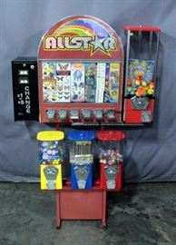 6-Way Vending Machine Stand, Modified to Hold 7, with DBV-20 Change Machine, Allstar Sticker/Tattoo Machine, $.75 Machine, & 3 $.25 Gumball Machines