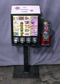 "Sticker/Tattoo Flat Vending Machine on Stand with Gumball/Capsule Machine, Includes Keys, 18""W x 48""H"