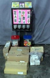 "Sticker/Tattoo Flat Vending Machine on Stand wi/ 2 Mounted Gumball/Capsule Machines, Includes Keys, 18""W x 48""H, & Large Assortment Bulk Prize Refills"
