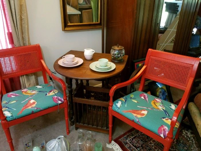 Beautiful vintage painted red chairs with bird fabric