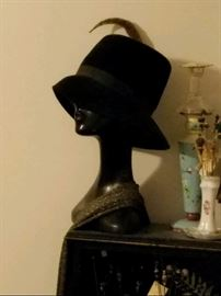 Vintage hats and hat pin holders