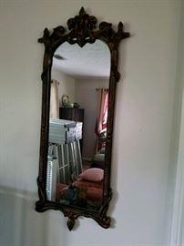 Antique mahogany wall mirror