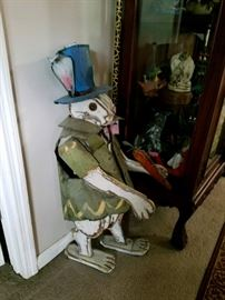 Fabulous Whimsical rabbit wood with tin clothing and hat