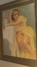 Vintage voluptuous on painting of a woman