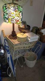 Tiffany lamp shabby chic metal table