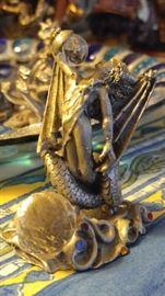 Gorgeous miniature portrait Maiden Dragon crystal ball fantasy
