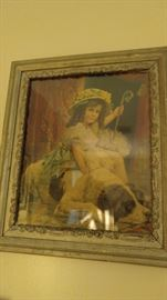 Victorian lithograph girl and dog