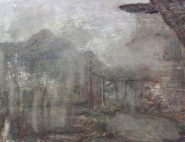 AIMETTI Carlo Oil on Board Abstracted Landscape