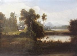 APPARENTLY Unsigned Oil on Canvas Lakes Country