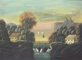APPARENTLY Unsigned Oil on Canvas Landscape
