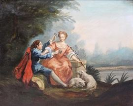 APPARENTLY Unsigned Oil on Canvas Man Courting