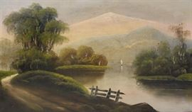 APPARENTLY Unsigned Oil on Canvas Mountain