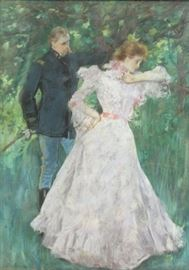 AMERICAN School Pastel Woman and Soldier