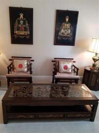 Beautiful asian wood chairs, carved tables, pictures
