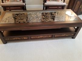 Carved wood pictures coffee table