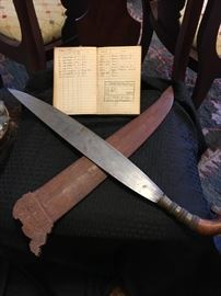 WWII Handcrafted Machete and Leather Case from Philipines