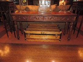 Carved late 20th century hall table, antique trunk