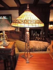 late 20th century leaded Tiffany Style Lamp - one of TWO available