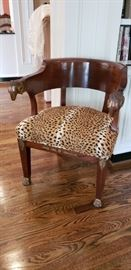French 19th Century Empire Mahogany Ram Heads Chair