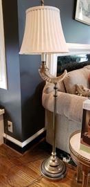 Vintage Chapman Mid Century Modern Brass Ram's Horn Floor Lamp