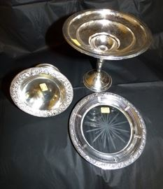 Sterling compotes and wine coaster