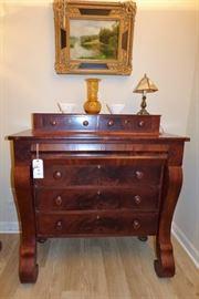 Antique Flame Mahogany Empire chest