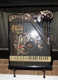 Antique Zither, hand painted decoration