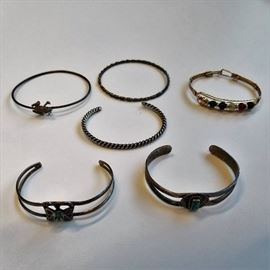 6 Bracelets Some Sterling  Hand Made  Nice Col ...
